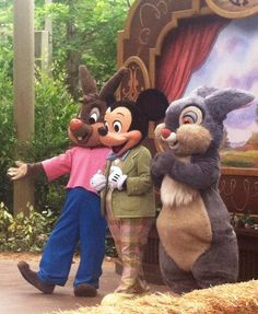 Brer Rabbit, Mickey Mouse, and Thumper in the Big Thunder Ranch Jamboree Spring Round-Up at Disneyland in California.