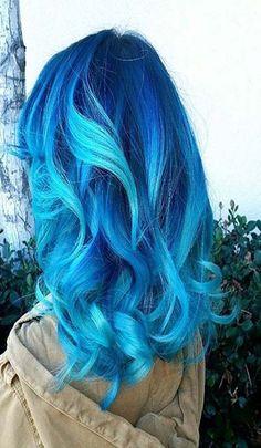 Blue hair color ideas beautiful girls Bright Hair Colors, Ombre Hair Color, Cool Hair Color, Bright Blue Hair, Colorful Hair, Pastel Blue, Light Blue Ombre Hair, Blue Hair Streaks, Colours