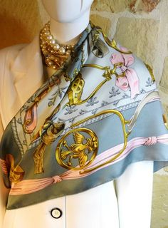Authentic Vintage Hermes Silk Scarf Etriers Grey and Pink Stunning
