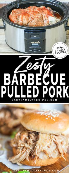 This is the EASIEST and BEST pulled pork recipe! It is made in a crock pot so it is simple and feeds a crowd. The secret ingredient makes it over the top delicious! Bring this slow cooker recipe to your next potluck picnic or bbq! Leftover Bbq Pork Recipe, Best Pulled Pork Recipe, Pulled Pork Recipes, Easy Family Meals, Easy Meals, Family Recipes, Slow Cooker Recipes, Crockpot Recipes, Ham Recipes