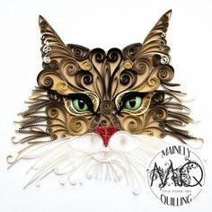 A quilled coon cat portrait made in spirals and edgework by artist Stacy Bettencourt of Mainely Quilling in Jefferson, Maine. Arte Quilling, Paper Quilling Patterns, Quilled Paper Art, Quilling Paper Craft, Paper Crafts, Quilled Creations, Quilling Techniques, Cat Cards, Gifts For Pet Lovers