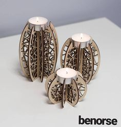 Geometric candle holders / set of 3 / rustic / abstract candle holder / gift set / wooden candle holder / candle light by Benorse Laser Cut Lamps, Laser Cut Mdf, 3d Laser, Geometric Candle Holder, Wooden Candle Holders, Candle Holder Set, Laser Cutter Ideas, Laser Cutter Projects, Wooden Lamp