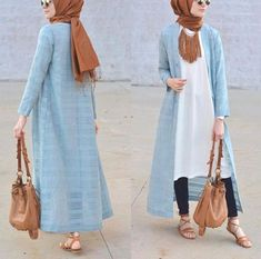 blue long open cardigan