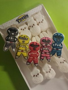I used edible food markers to draw on Peeps marshmallows. Mighty Power Rangers, Power Ranger Cake, Power Ranger Party, Power Ranger Birthday, My Son Birthday, 4th Birthday Parties, Birthday Ideas, Little Boy Drawing, Edible Food