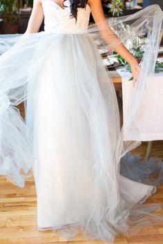 Tulle skirt: http://www.stylemepretty.com/new-york-weddings/new-york-city/manhattan/lower-east-side/2015/04/24/enchanted-garden-engagement-party-inspiration/ | Photography: Orange Blossom - http://www.orangeblossomphoto.com/