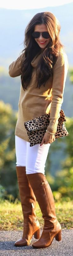 Turtle Neck Sweater with Lepord Clutch and Over th...