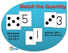"""Match the Quantity"" - Match dotpatterns with numbers 1 to 5. Supports learning Common Core Standards: 0-K.OA.5, 0-K.CC.3 [KNP Task # S 2265.1]"