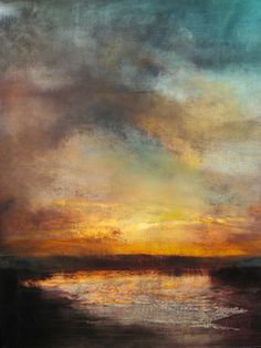 "Artist Maurice Sapiro; Painting, ""Sunset, Reflected"""