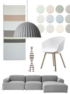 Een Scandinavisch moodboard met design van Flinders. 1. Het Hay Paper Carpet Pistache Green vloerkleed. 2. De Muuto Under the Bell hanglamp. 3. De Vitra Wooden Doll No. 16. 4. De Hay About a Chair AAC22 stoel. 5. De Muuto Connect bank.