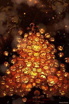 Halloween pumkin art jack o lantern Anime Halloween, Halloween Christmas, Halloween Art, Ink Illustrations, Illustration Art, Arte Horror, Creepy Art, Weird Creatures, Cool Artwork