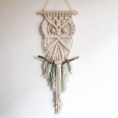 Modern+Macrame+Owl.+Natural+Cotton+Knotted+Cord+Whimsical+Animal+Wall+Hanging+with+Fluffy+Featury+Wool+Tail.+Country+Kitchen+Decor.