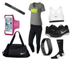 Work it out by kyliesue22 on Polyvore featuring polyvore, fashion, style, NIKE and Fitbit