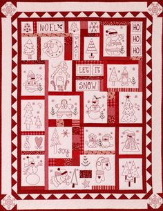 Free Christmas Redwork | The Stitch Connection - Quilts
