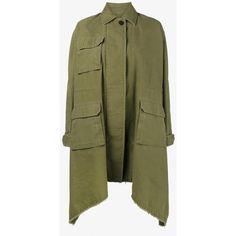 Valentino Long Caban Parka Coat (165.595 RUB) ❤ liked on Polyvore featuring outerwear, coats, oversized parka, parka coat, green parkas, green parka coat and button coat
