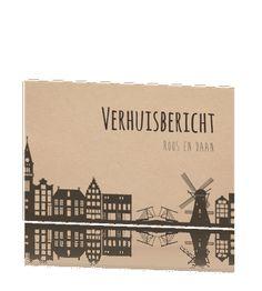 Verhuiskaart hollandse aanzicht op karton