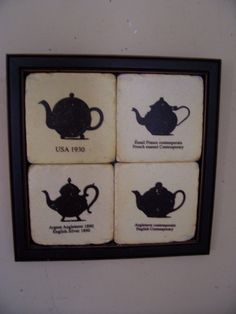 Vintage Framed Tile Wall Art TEA POTS ( 9.5 X 9.5 ) Used By LIZ404 On