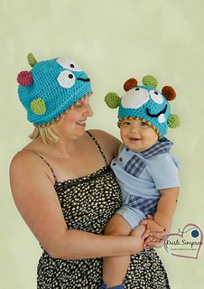 Can you honestly say this hat doesn't make you laugh? Top your lil' monster with this hat and you will have everyone else giggling over the cuteness too! The pattern includes all sizes from itty bitty to adult!