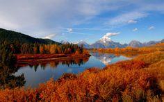 Na podzim, hory, Les, řeka, obloha