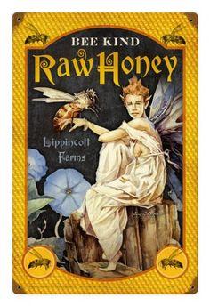 Vintage and Retro Wall Decor - JackandFriends.com - Retro Tin Sign, Bee Kind Honey