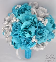 "17 pieces Package Wedding Bridal Bouquet Silk Flowers bouquets Decoration SILVER TURQUOISE ""Lily Of Angeles"" by LilyOfAngeles on Etsy https://www.etsy.com/listing/192429939/17-pieces-package-wedding-bridal-bouquet"