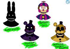 FNaF 2 Easter Egg Bots - Headshots by FNAFNations.devia... on @DeviantArt