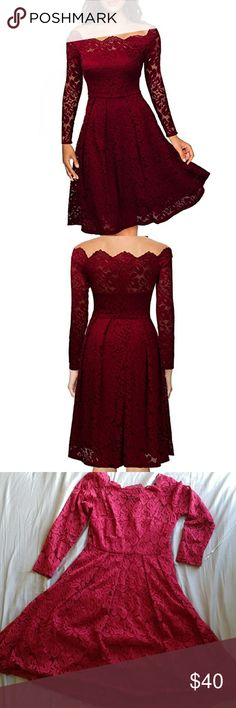 Off the shoulder lace cocktail dress This dress is amazing. So flattering for many different body types. Fancy enough for events but still causal for nights out! Great day to night look in a beautiful red wine color. Minor fly always on the lace but has plenty of life left. The lining is a great quality. Features side zip and non slip shoulders so you don't have to worry about adjusting yourself! Make me an offer! Miusol Dresses Midi