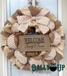 Winter Burlap Wreath, Everyday Wreath, Natural and Cream  Chevron Burlap Wreaths, Wreath for All Year, Welcome Wreath, Winter Wreath