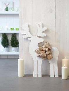 Advent calendar Christmas reindeer and packages, package decoration ideas Noel Christmas, Scandinavian Christmas, Winter Christmas, Reindeer Christmas, Modern Christmas, Christmas Baubles, Christmas Crafts, Christmas Decorations, Diy Advent Calendar