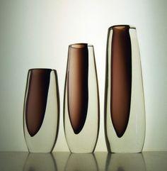 Vicke Lindstrand - red brick off centre vases