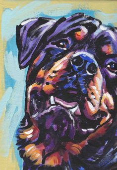 Rottweiler+art+print+dog+pop+art+bright+colors+by+BentNotBroken,+$11.99