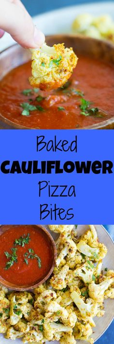 These Baked Cauliflower Pizza Bites are a perfect healthy side dish for your next pizza night! gluten free, vegan