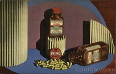 Advertising postcard for Premo Pharmaceutical Laboratories, Inc., New York, 1930s