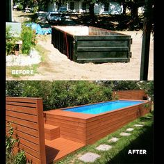 A creative DIY project that sees a lowly dumpster become an affordable and attractive backyard pool.  View full project on livinspaces.net  #thepoolbox #stefanbase#swimmingpool #swimmingpooldiy #restorativedesign #restoration #pooldesign #pooldesignideas #designrestoration #recycle #reuse #sustainability #sustainablerenovations #landscaping #gardening #landscapearchitect #gardendesign #outdoordesign #architect #architecture #diy #wood #deck #steppingstones #gardenfeatures #green #outdoor…