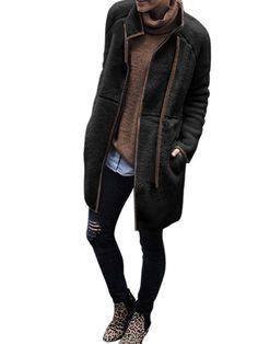 Women Winter Fur Jacket Tops Fluffy Cashmere Fleece Coat Cardigans Women Zipper Teddy Coat Faux Fur Coats Black S