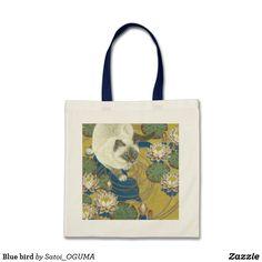 <Blue bird> Siamese cat and water lilies tote bag by Satoi Oguma.