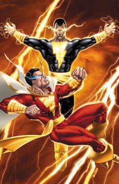 Captain Marvel vs Black Adam by BlondTheColorist.deviantart.com on @deviantART