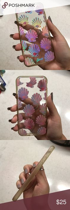 Seashell iPhone 6/6S Case holographic pink shell phone case, plastic backing with a rubber bumper Sonix Accessories Phone Cases