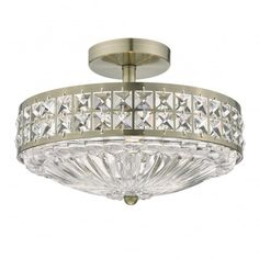 OLONA 3 light semi flush antique brass and clear crystal ceiling light Flush Ceiling Lights Uk, Industrial Ceiling Lights, Crystal Ceiling Light, Lighting Uk, Semi Flush Lighting, Lighting Ideas, Glass Diffuser, Clear Crystal, Crystals