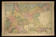 Antique Map Germany Large Early 1900s Original 1901