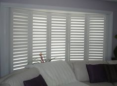 Photo of Budget Blinds serving Naperville - Naperville, IL, United States. Shutters in Bow Window Bay Window Shutters, Bay Window Decor, Bay Window Curtains, Window Blinds, Wood Shutters, House Doors, House Windows, Blinds For Windows, Bow Windows