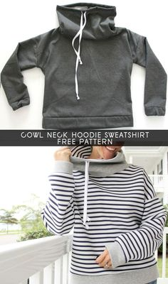 DIY How to sew a Cowl Neck Hoodie Sweatshirt, with free women's sweatshirt sewing pattern