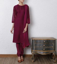 Wine Cotton Silk Churidar Suit