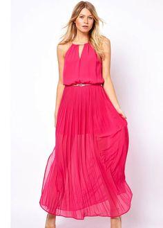 Star Style Round Neck Sleeveless Maxi Dress Red #zinastore