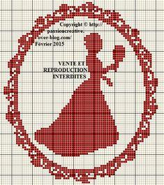 Grille gratuite point de croix : Princesse monochrome rouge - Le blog de Isabelle
