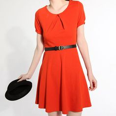 Dark orange dress J057 by JulyS on Etsy, $59.00