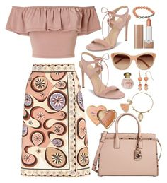 """""""Starburst, Toasted Wheat & Peach Colours"""" by sunx2 ❤ liked on Polyvore featuring Emilio Pucci, Chloé, Miss Selfridge, Marc Jacobs, Too Faced Cosmetics, Bavna, Pour La Victoire, Kate Spade and Tocca"""