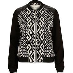 Black geometric print bomber jacket featuring polyvore women's fashion clothing outerwear jackets coats woven jacket faux leather jacket blouson jacket long sleeve jacket vegan leather bomber jacket