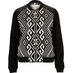 Black geometric print bomber jacket (1.418.005 VND) ❤ liked on Polyvore featuring outerwear, jackets, fake leather jacket, fake leather bomber jacket, river island jacket, river island and flight jacket