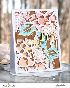 Ornate floral handmade card using Layered Floral Cover Die A and B. www.altenew.com