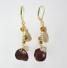 Aretes mujer piedras semipreciosas jaspe baño en oro finas joyas de moda   www.hogla.com.co